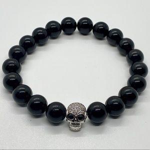 Other - Onyx beaded bracelet with Skull